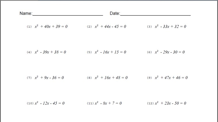 All Worksheets » Worksheets For Quadratic Equations - Printable ...