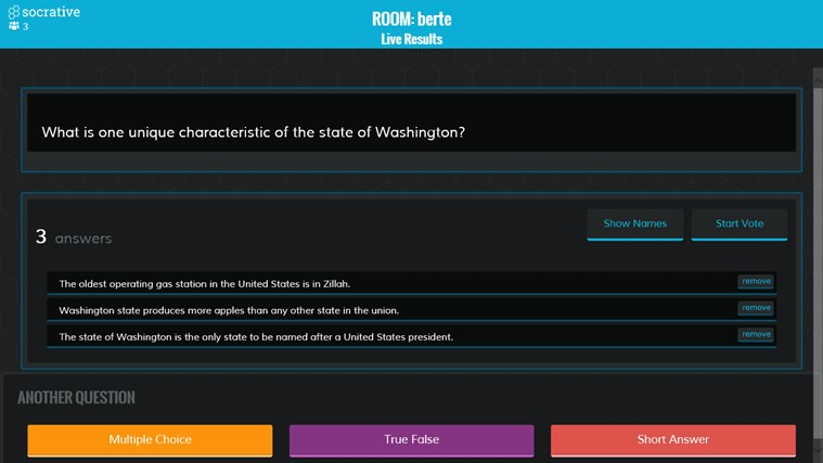Socrative screen shot 3
