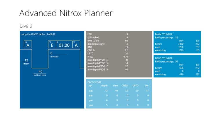 Advanced Nitrox Planner screen shot 1