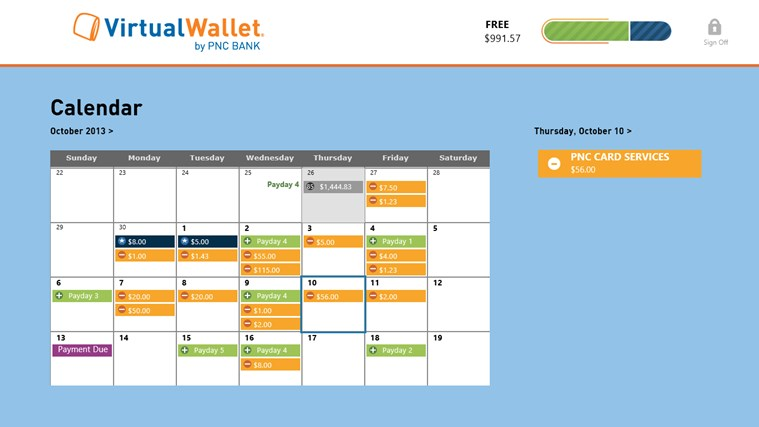Virtual Wallet by PNC Bank screen shot 1