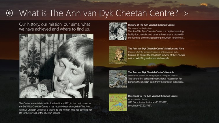 The Ann van Dyk Cheetah Centre skermskoot 1