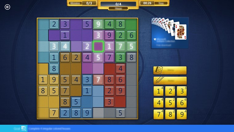 Microsoft Sudoku screen shot 1