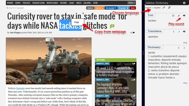 Sidebar Dictionary screen shot 3