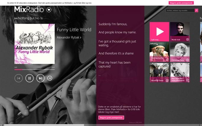 MixRadio skjermbilde 3