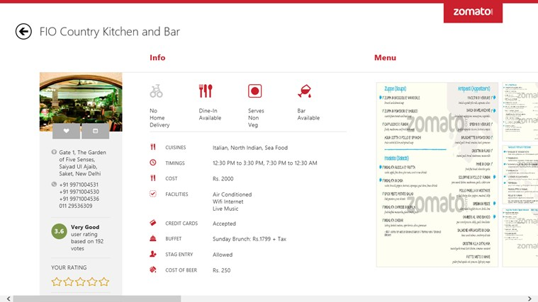Zomato screen shot 3