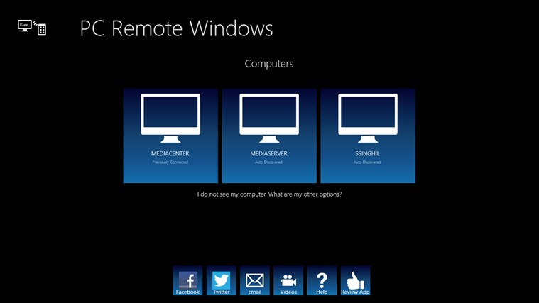 PC Remote Windows screen shot 1