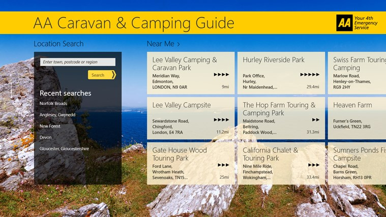 AA Caravan & Camping Guide screen shot 1