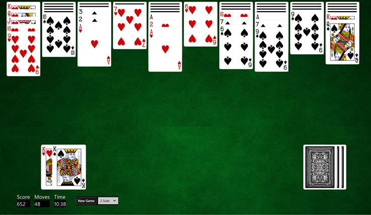 microsoft spider solitaire 2 suits