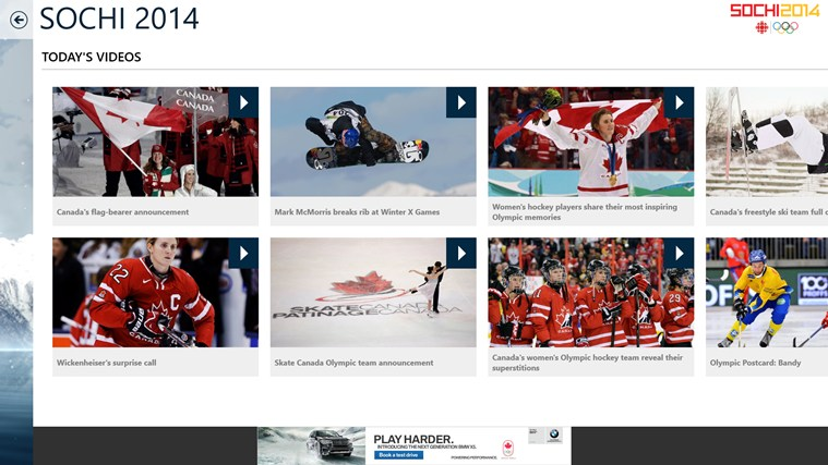 CBC Sochi 2014 screen shot 1