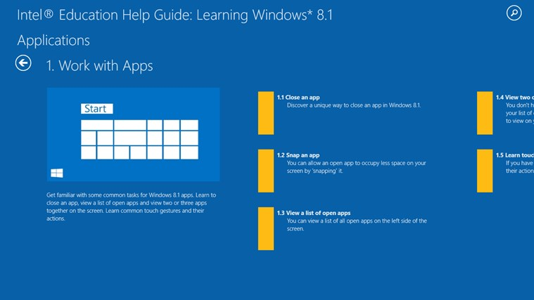 Learning Windows* 8.1 screen shot 1