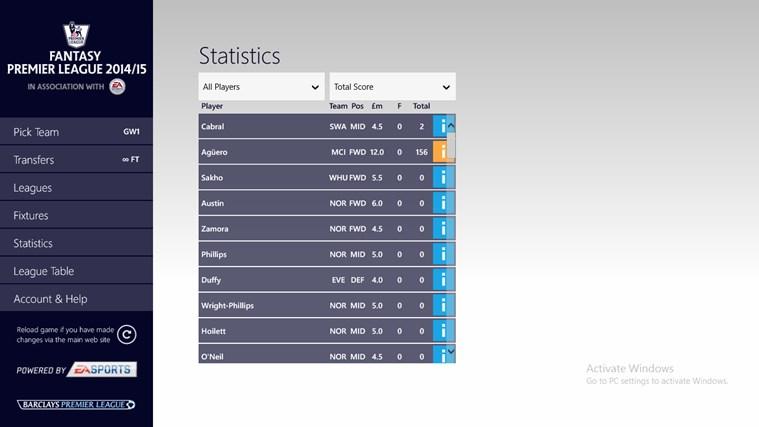 Fantasy Premier League 14/15 – Official App screen shot 3
