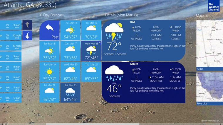 the weather channel app for windows in the windows store