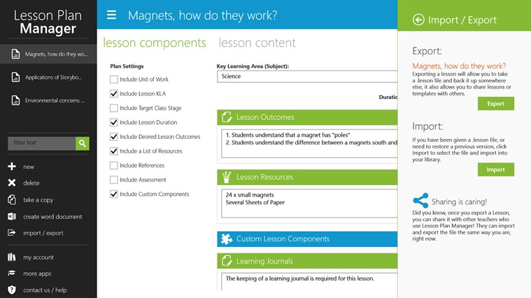 Lesson Plan Manager screen shot 3