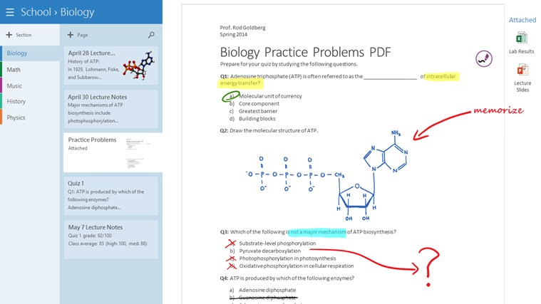 OneNote screen shot 3