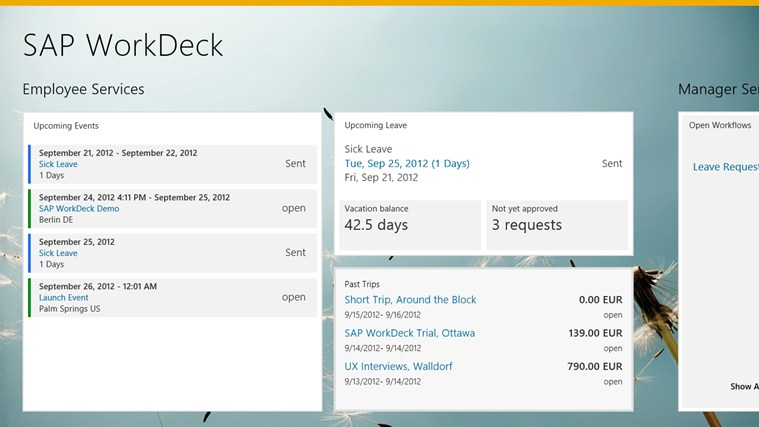 SAP WorkDeck ภาพหน้าจอ 1