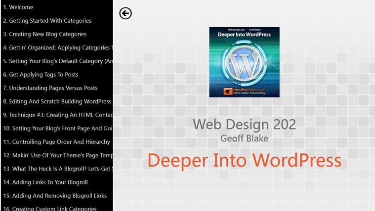 Web Design: Deeper Into WordPress Screenshot 1