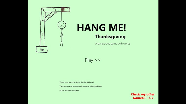 Hang Me Thanksgiving screen shot 1