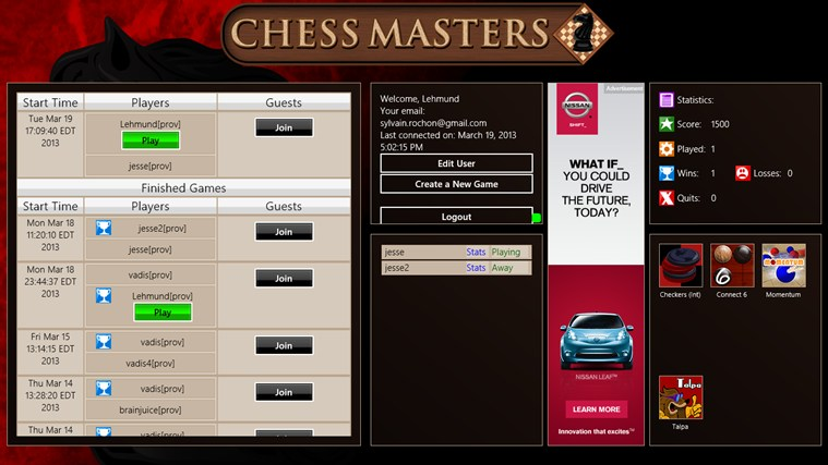 Chess Masters Online screen shot 1