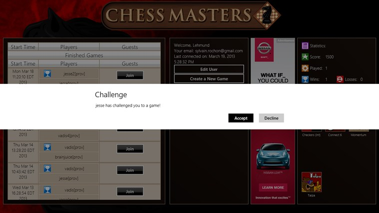 Chess Masters Online screen shot 3