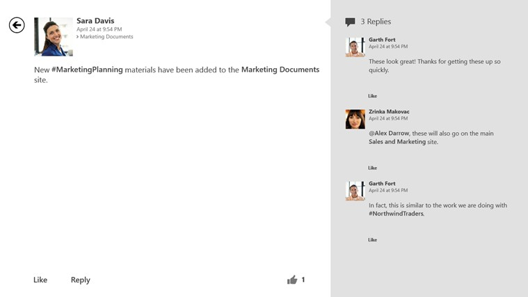 SharePoint Newsfeed screen shot 1