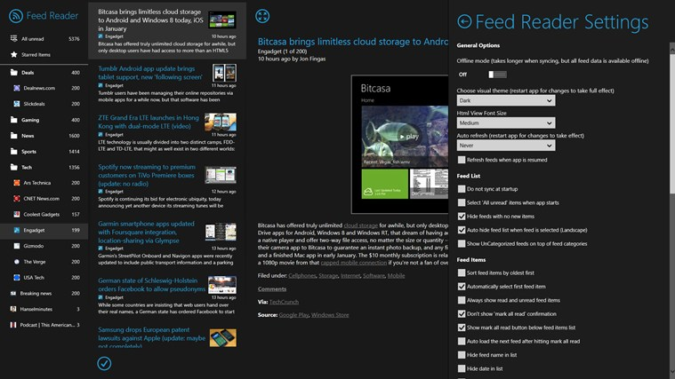 Feed Reader screen shot 5