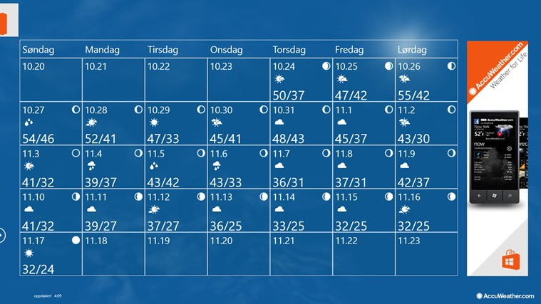 AccuWeather for Windows 8 skjermbilde 1
