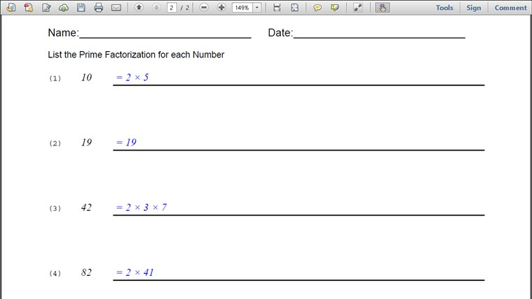 paglalarawan this app generates prime factorization worksheets which ...