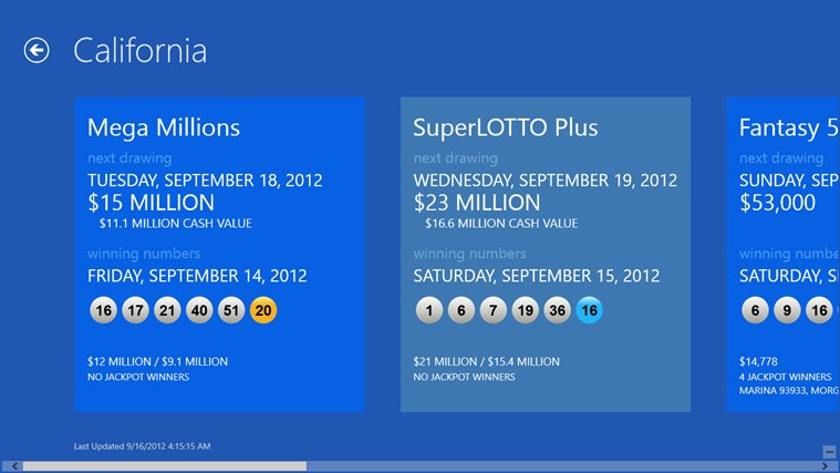 Lotto Results screen shot 1