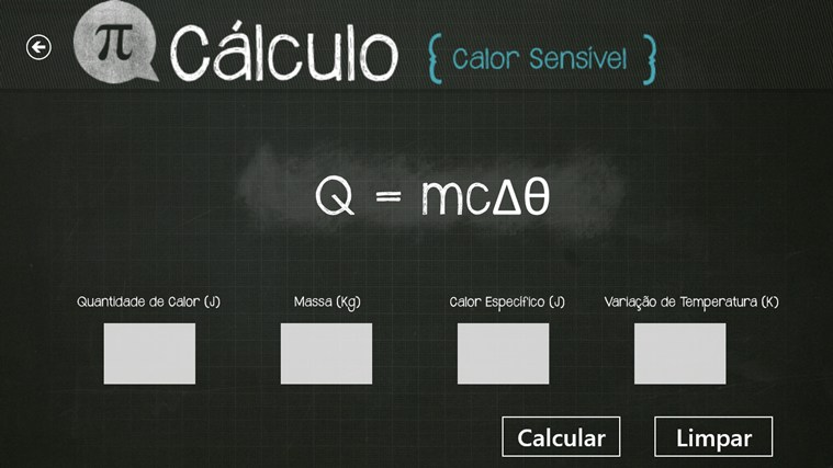 Calculo do Calor Sensível screen shot 1