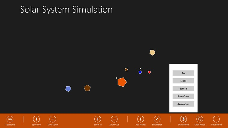 Solar System Simulation screen shot 1