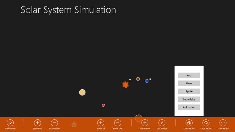 Solar System Simulation screen shot 3