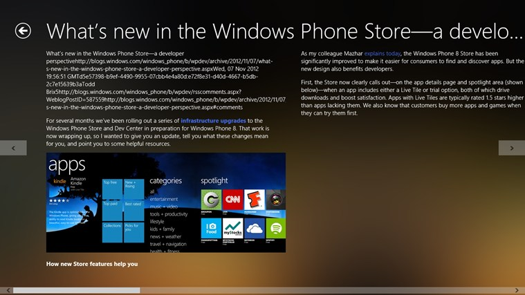 Windows Phone Dev Blog screen shot 1