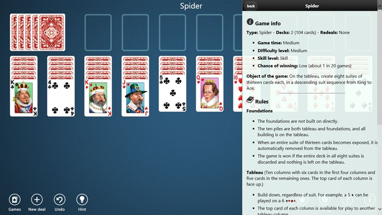 Spider Solitaire Collection Free screen shot 5