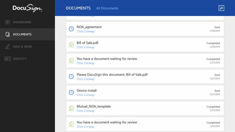 DocuSign screen shot 1