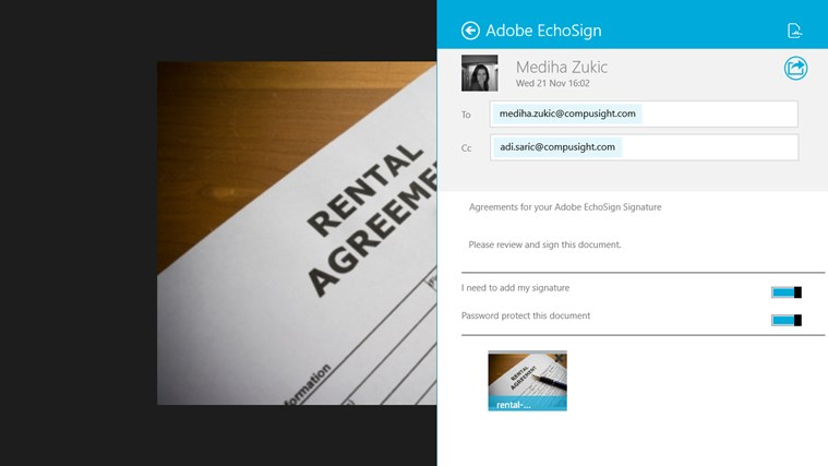 Adobe EchoSign screen shot 7