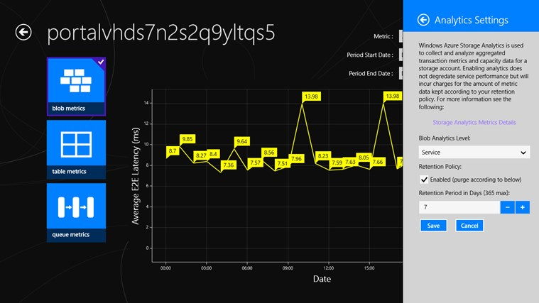 Azure Storage Metrics screen shot 3