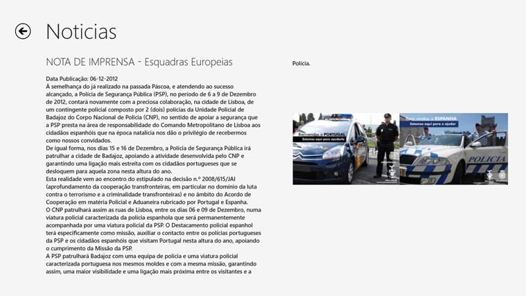Polícia de Segurança Pública captura de ecrã 5