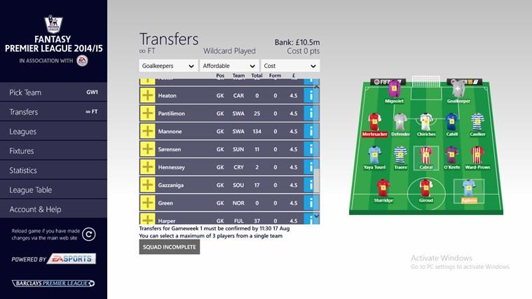 Fantasy Premier League 14/15 – Official App screen shot 1