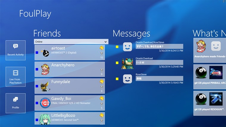 FoulPlay: The Unofficial PlayStation Network App screen shot 1