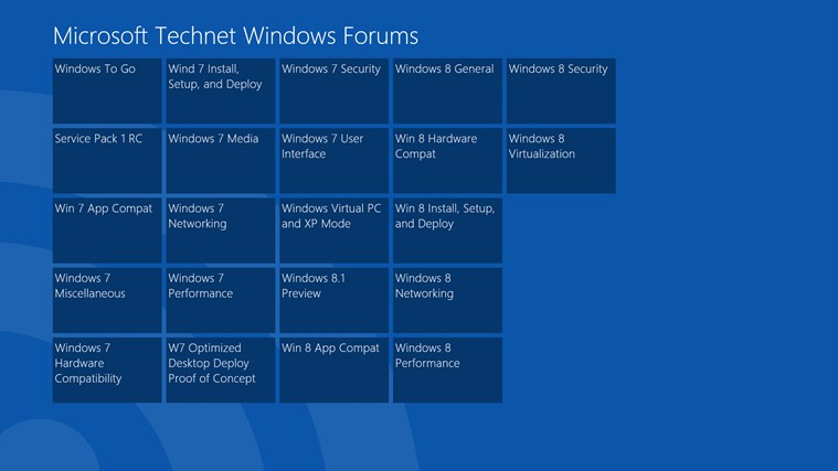 Technet Windows Forum Reader screen shot 1