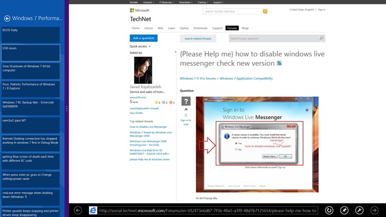 Technet Windows Forum Reader screen shot 5