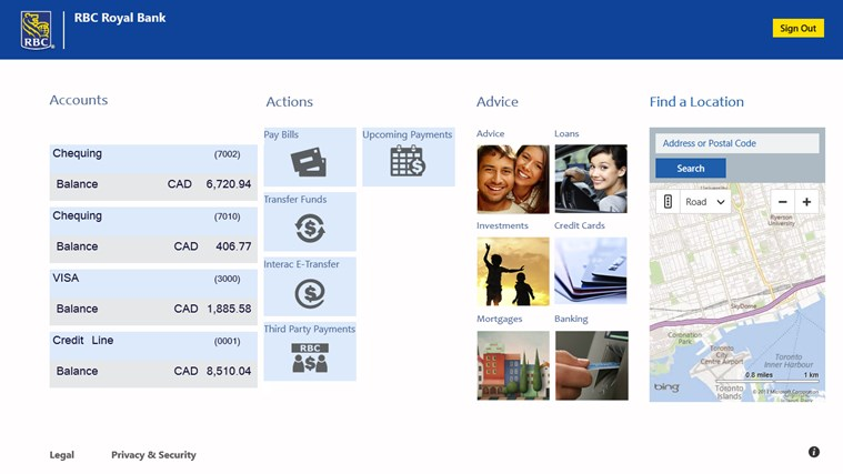 RBC Canada screen shot 1