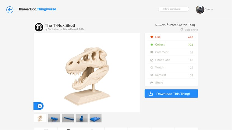 MakerBot Thingiverse screen shot 1