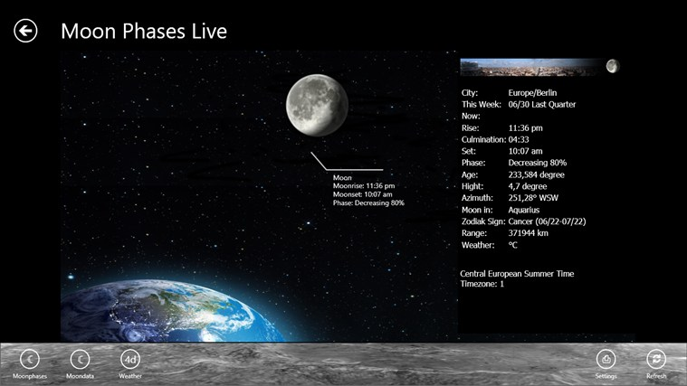 Moon Phases Live screen shot 1