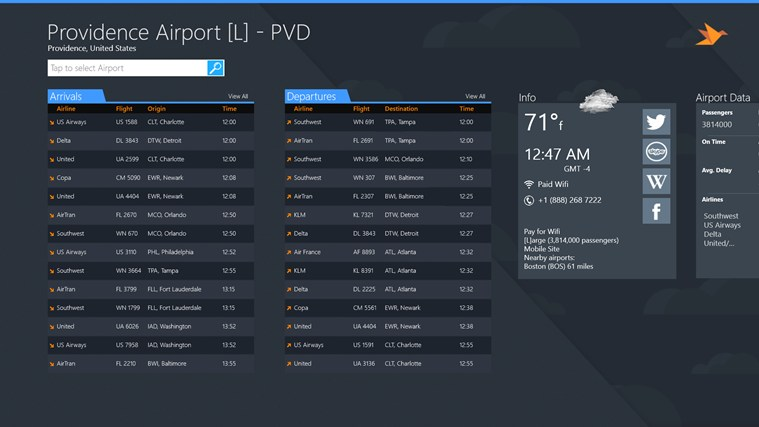 Providence Airport + Flight Tracker cattura di schermata 1