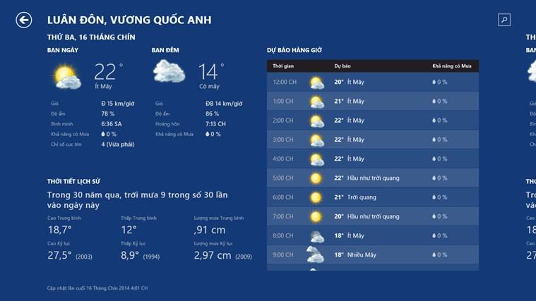 Thời tiết trên MSN ảnh chụp màn hình 1