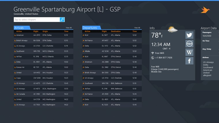 Greenville Spartanburg Airport + Flight Tracker screen shot 1