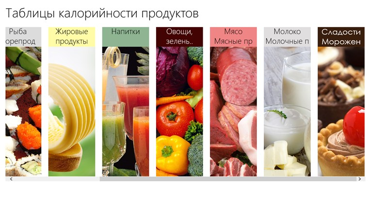 Таблица калорий: снимок экрана 1