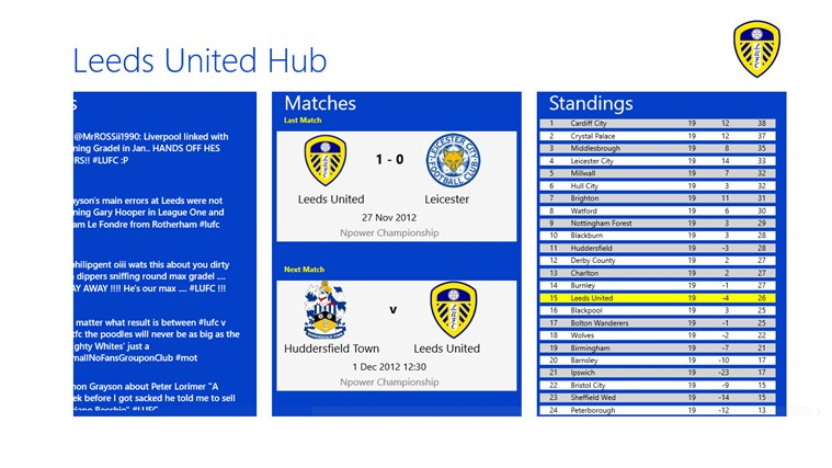 Leeds United Hub screen shot 1