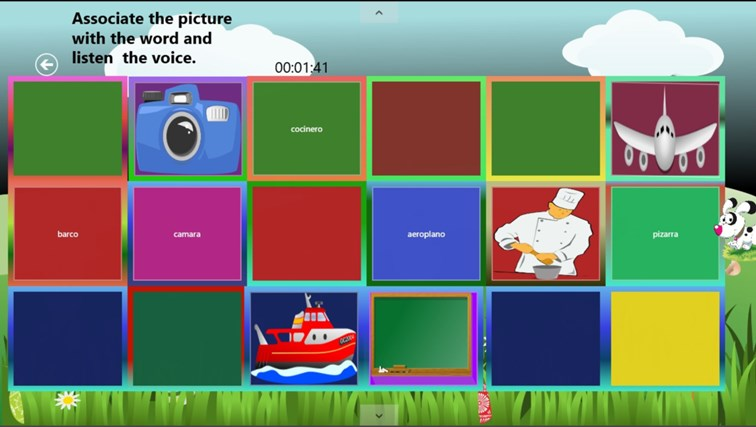 Learn Spanish Memory Game screen shot 1